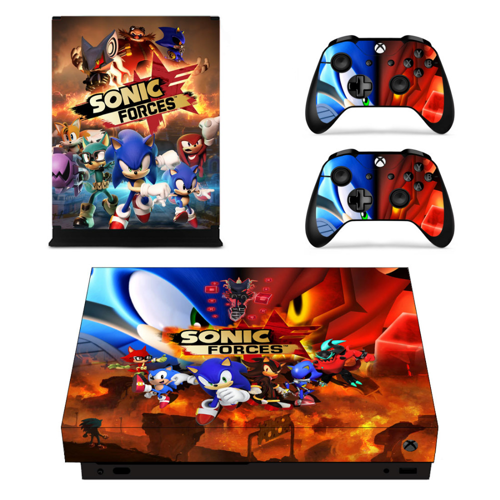 Game Sonic Forces Skin Sticker Decal For Microsoft Xbox One X Console and 2 Controllers For Xbox One X Skin Sticker