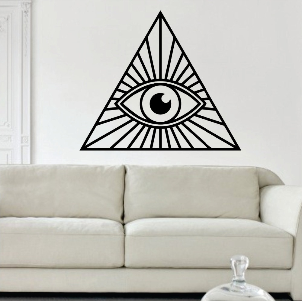 Buddha Wall Decal All Seeing Eye Vinyl Wall Stickers Illuminati Design Home Interior Livingroom Art Mural Waterproof DecorSYY582