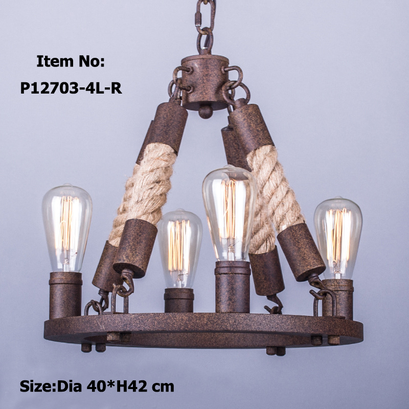 Retro Antique Rope Chandeliers Large American Style Chandelier Lamp For  Dining/living Room Bar Restoration