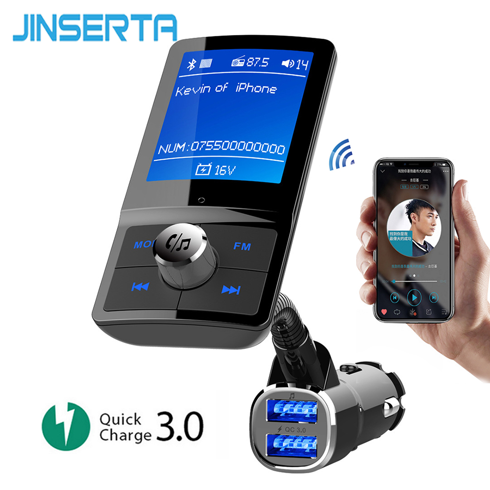 JINSERTA Car MP3 Player Bluetooth FM Transmitter QC3.0 Car Charger Wireless Handsfree Support USB Flash TF Card Music Play