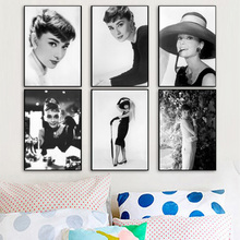 Audrey Hepburn Nordic Posters And Prints Wall Art Canvas Painting Black White Pictures For Living Room Bedroom Home Decor