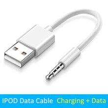 3.5 do USB 2.0 konwerter kabel 0.1m Jack 3.5mm ładowarka kabel do transmisji danych dla Apple ipod shuffle 4th 5th 6th 7th złącze USB przewód