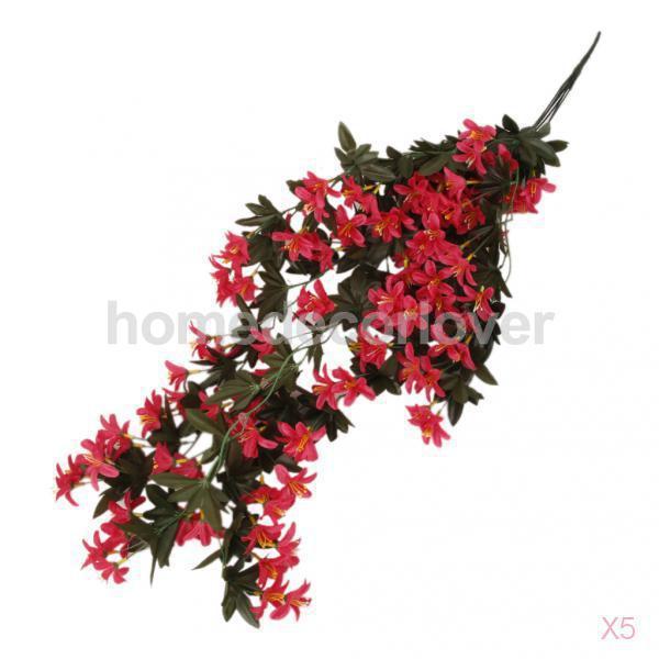 5 Pcs Artificielle 5 Branch Suspendus Fleur De Lys Ivy Vigne Usine