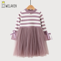 WeLaken Warm Knitted Striped Girls Dress 2017 Girls Lace Patchwork Children Clothing Long Sleeve Autumn Baby