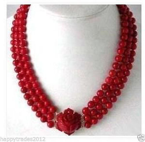 Free shipping X238 3 Rows Red Coral Beads Flower Pendant Clasp Necklace #1156