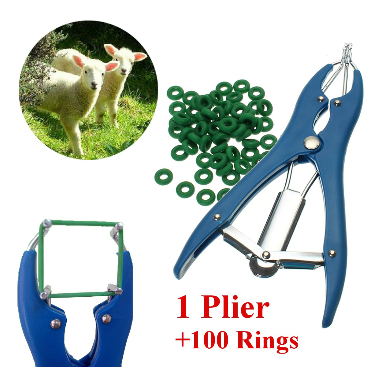 1 Plier for Sheep Castration Banding Tail Applicator Marking Farm+100 Rings