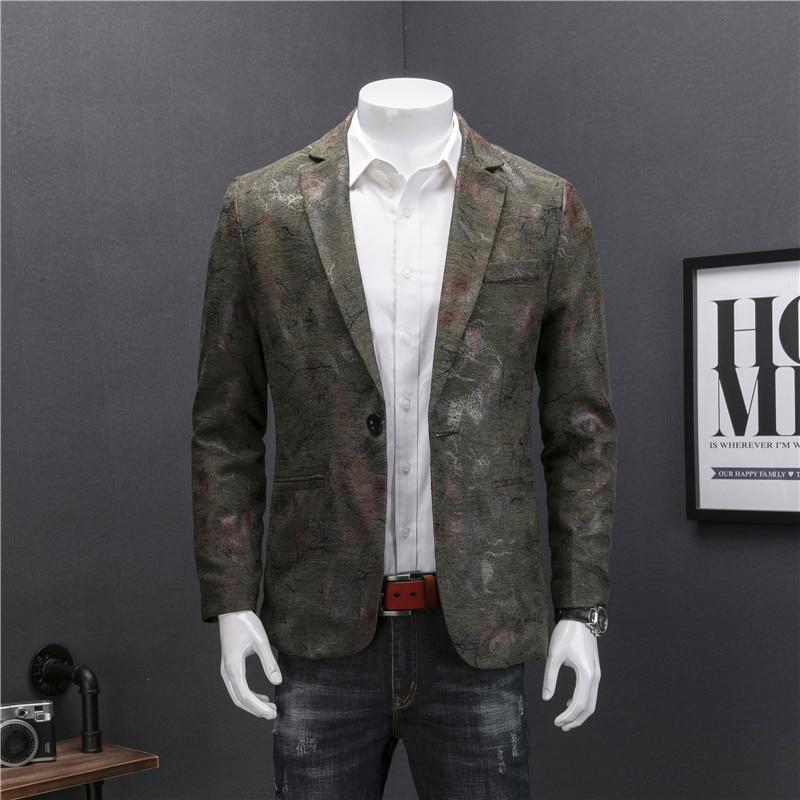 Мужские спортивные пиджаки 2019 Осень Мужской Блейзер Куртка Азии размеры s M L XL XXL XXXL XXXXL Для мужчин пальто с цветочным принтом
