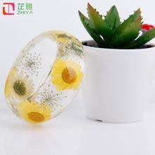Fresh clear yellow flower resin bangles women relaxation rhinestone bracelets quick shipment