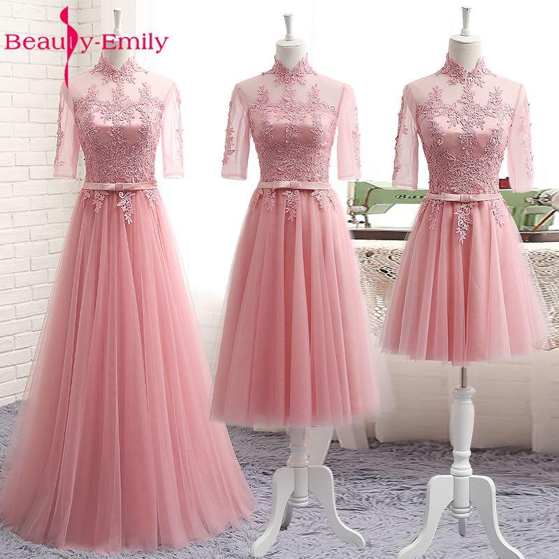 2019 Vestido De Festa Formal   Bridesmaid     Dresses   Half Sleeve Tulle Lace High Neck Long Wedding Party Gown Elegant Robe De Soiree