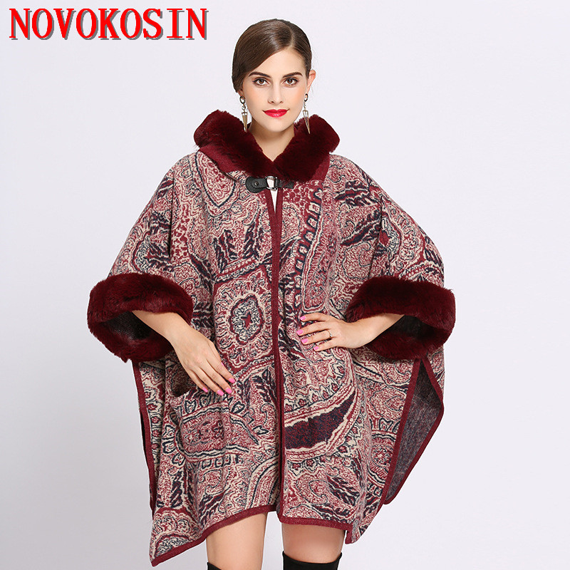 SC196 Women Loose Plus Size Faux Fur Hat Long Knitted Cardigan With Pocket Winter Warm Thick Bat Sleeve Coat 2018 Printed Poncho