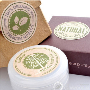 600pcs/lot Size:35mm NATURALKraft handmade sticker with love/Round Gift seal stickers for products