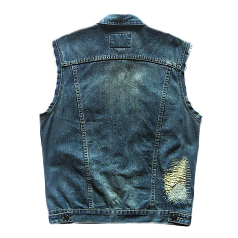 Men Motocross Jeans Vest Badge Cool Cowboy Punk Coat S-5XL Plus Size S-5XL Man Denim Vest Waistcoat Colete Masculino zengli blue jeans men new straight casual jeans men s loose elasticity splice cowboy denim trousers man jeans plus size 46 48