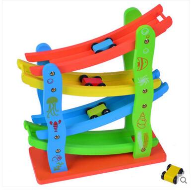 Speed game baby toys 1-2-3-5 years old childrens wooden multi-track scooter wooden chute car