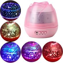Colorful LED USB Night light Rose Flower Rotating Star Night Lamp USB Bedroom Sleep Night Lamp For Baby Gift(China)