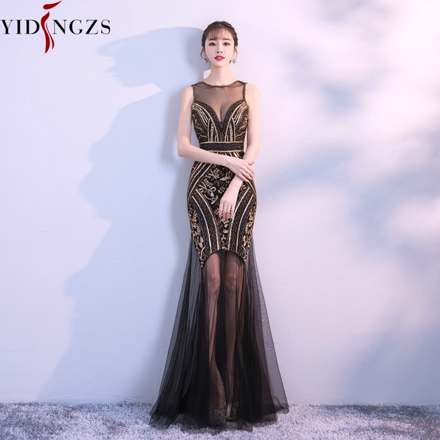 Robe De Soiree YIDINGZS Sequins Beading Evening Dresses Mermaid Long Formal Prom Party Dress 2019 New Style