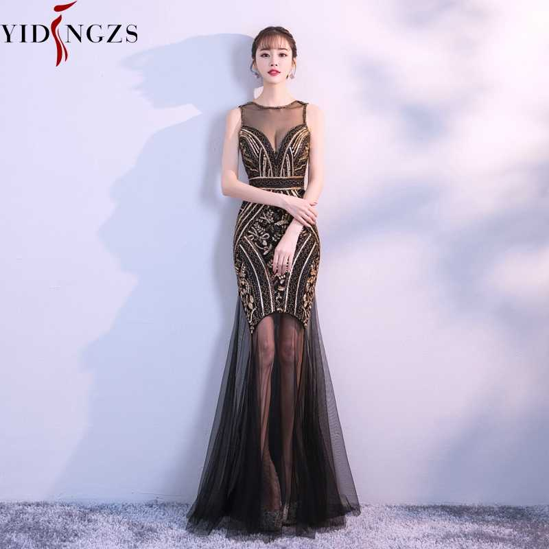 832ddab4cb Robe De Soiree YIDINGZS Sequins Beading Evening Dresses Mermaid Long Formal  Prom Party Dress 2019 New Style