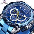 Forsining 2019 Novos Homens Azul Moda Relógio Mecânico Automático Data de Aço Inoxidável De Negócio Masculino relógio de Pulso Relogio masculino
