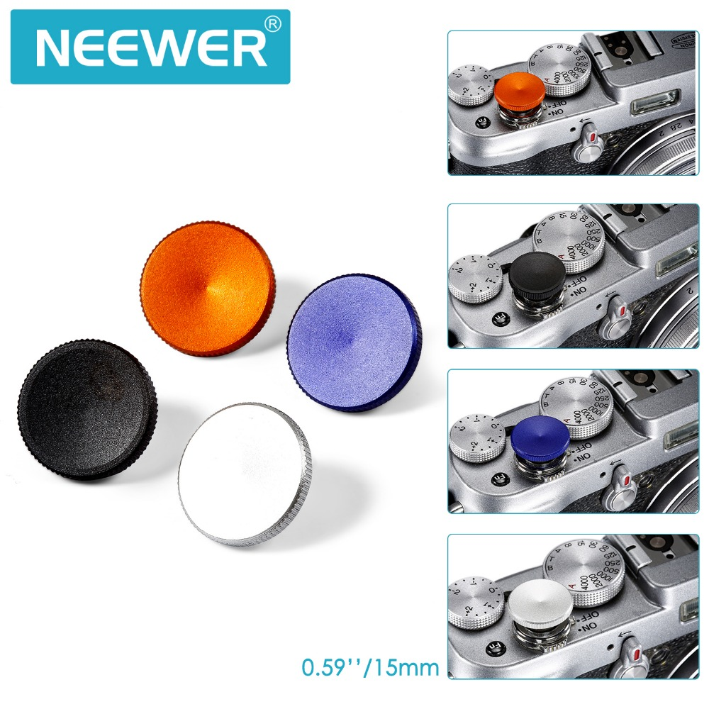 Neewer 4 Pcs 15MM Metal Soft Shutter Release Button Set+Cleaning Cloth for Fuji/Leica/Canon/Nikon/Hasselblad/Olympus/Pentax