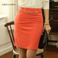 2014 Hot Selling Spring And Summer Orange And Black Slim Hip Pencil Skirt High Waist Short