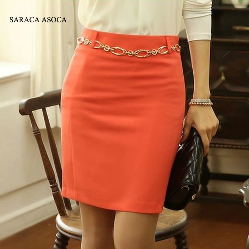 Spring And Summer Orange And Black Color Slim Hip Pencil Skirt High Waist Short Skirts Female New Fashion