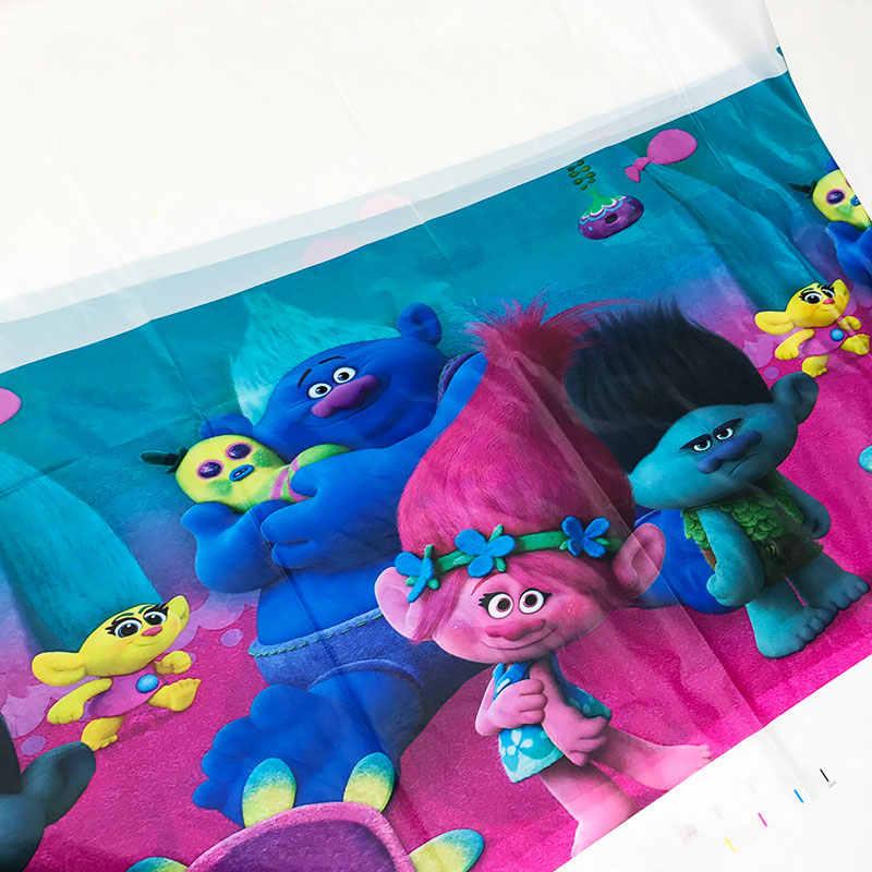 Trolls บนโต๊ะอาหารถ้วยจานช้อนส้อมผ้าปูโต๊ะบอลลูนกระเป๋ากล่องโปรดปรานสำหรับวันหยุดของเด็กวันเกิดของขวัญ