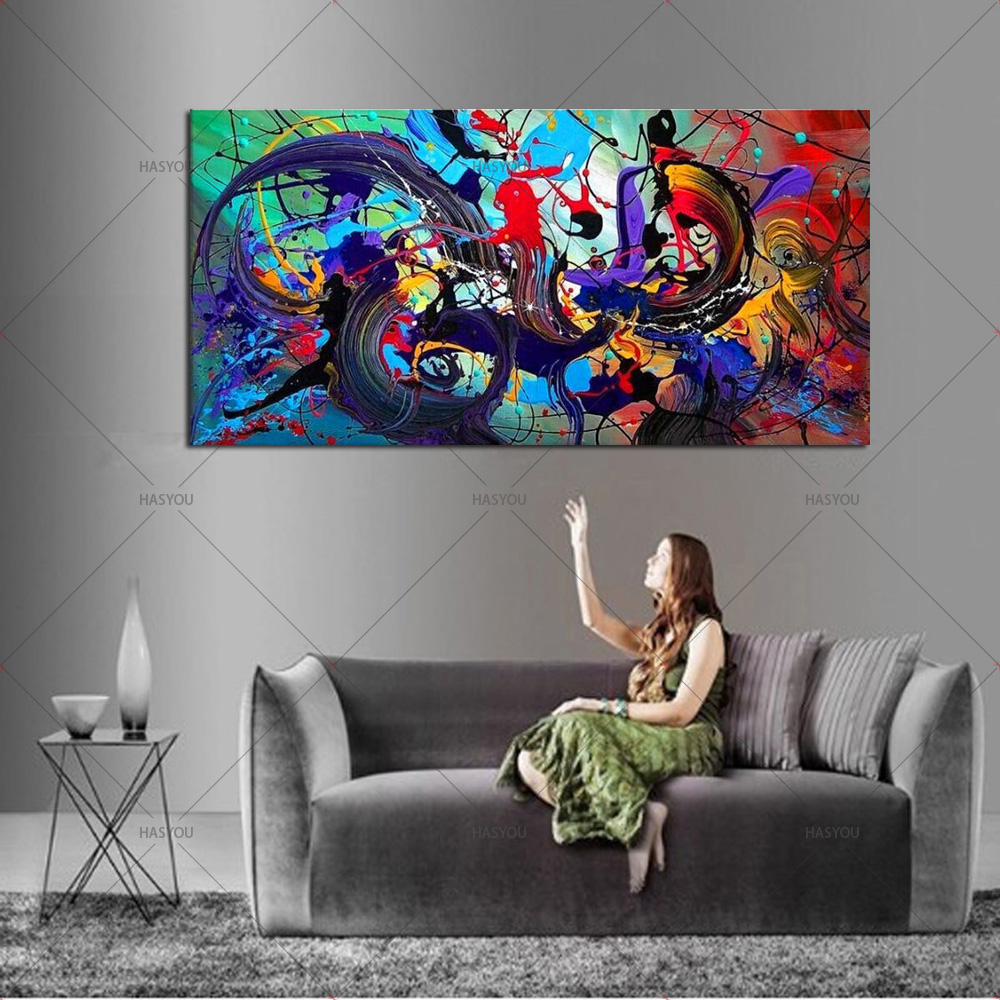 Large 100 Handmade Abstract Canvas Wall Art Modern Oil Painting on Cnavas Contemporary Decor Artwork Home