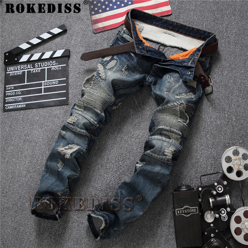 ФОТО Ripped jeans for men Spring and Autumn 2017 New products Slim Straight Frayed patch Motorcycle pants Retro Hole trousers C160