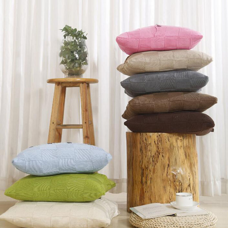 100 Cotton Small Square Knitted Cushion Cover Throw