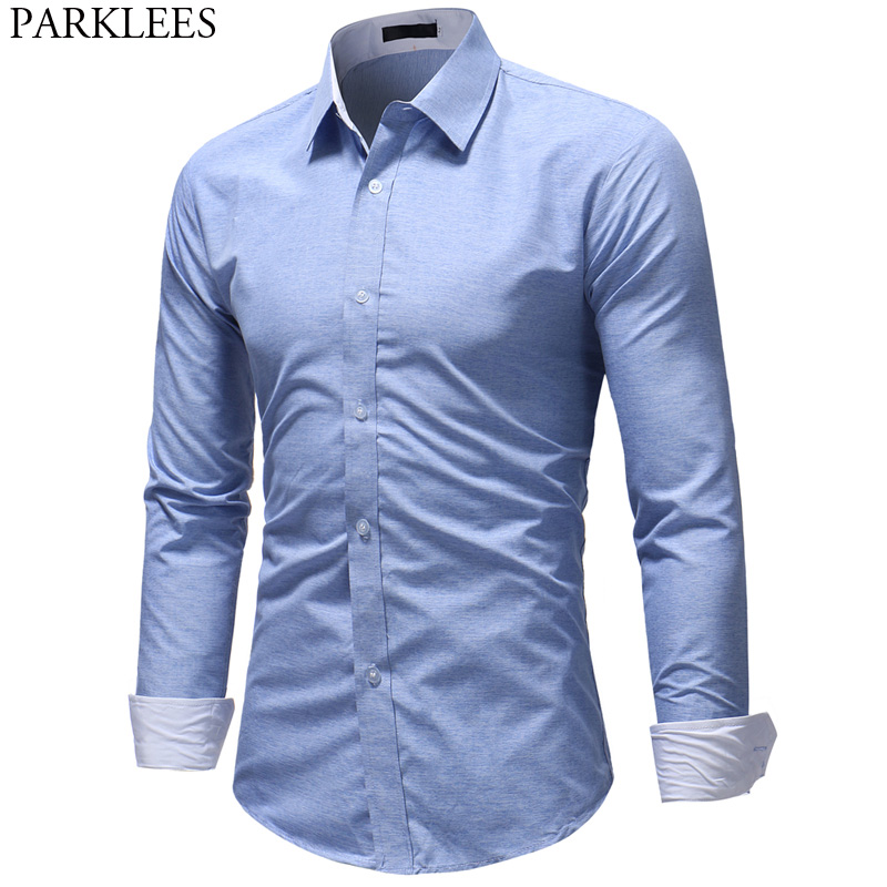 Sky Blue Long Sleeve Shirt Men 2018 Spring Autumn New Slim Fit Mens Dress Shirts Casual Solid Color Work Business Chemise Homme