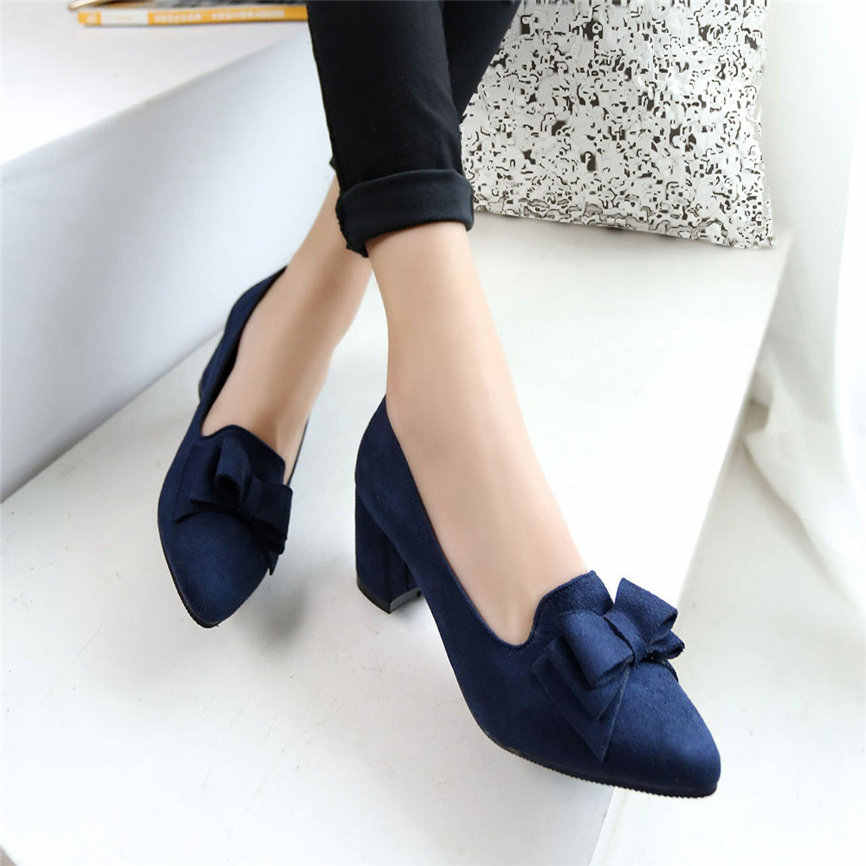 Women Shose Women's Bowknot Suede Thick High Heels Casual Pointed Toe Fashion Shoes Sexy  Style Shoes For Women  M9