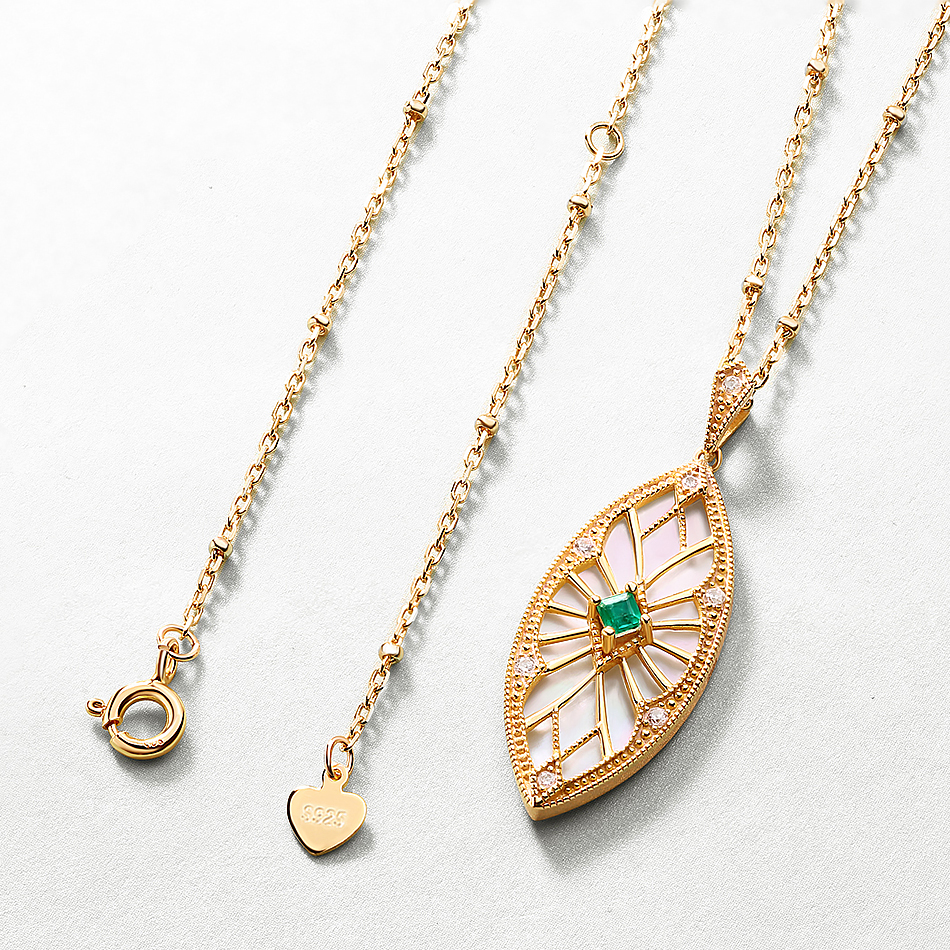ALLNOEL Sweater Chain Long Necklaces Pendants For Women Handmade Costume Accessories Natural Emerald Stone Leaf Pendant Necklace (6)