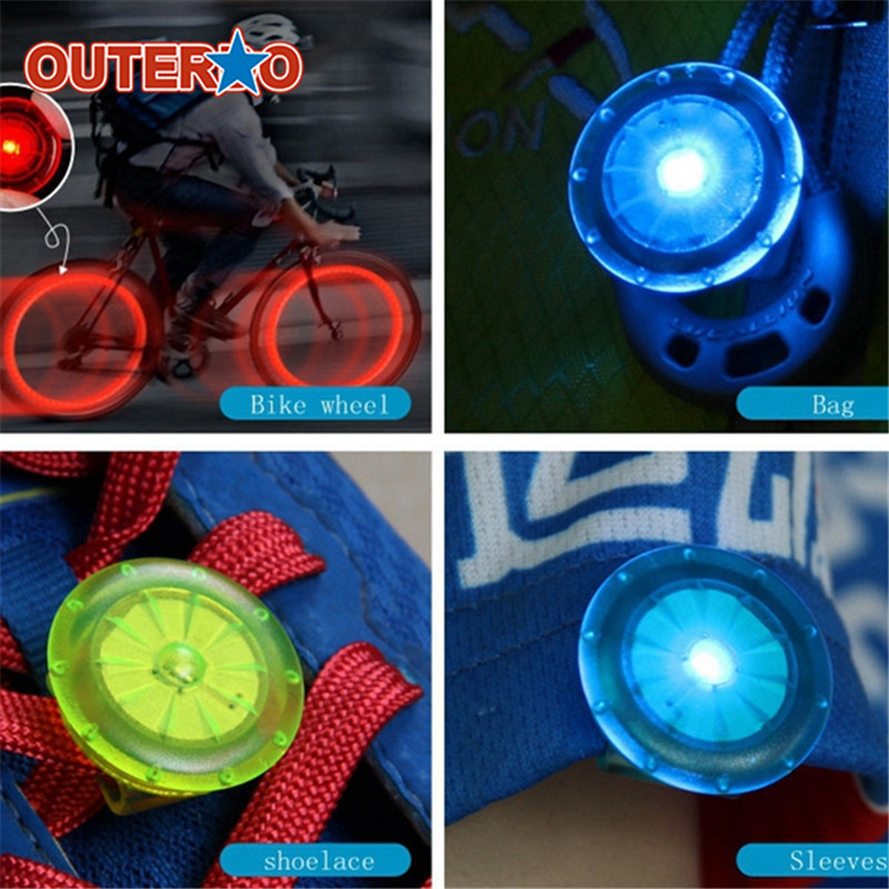 OUTERDO Multi Functions Bicycle LED Warning Light Cycling Shoes Clip On Light Backpack MTB Light Outdoor Night Safety Light