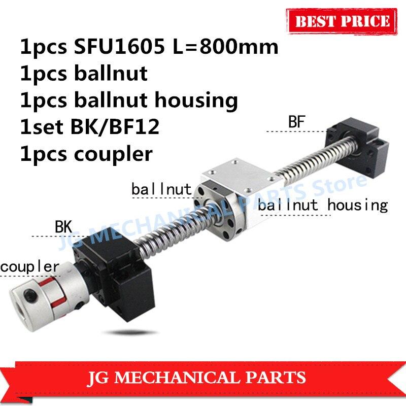 16mm Rolled Ballscrew set:SFU1605 L=800mm C7+single ballnut+BK/BF12 ballscrew end support+shaft coupler+ballnut bracket rolled c7 ballscrew 1605 700mm ballscrew with metal deflector ballnut bk12 bf12 support coupler