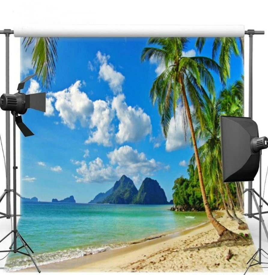 Blue Sky White Clouds Mountain Palm Tree Ocean Sea Beach backdrops Vinyl cloth High quality Computer print background