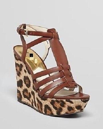 ФОТО Leopard wedge open-toed sandals female large base platform shoes Roman style sandals