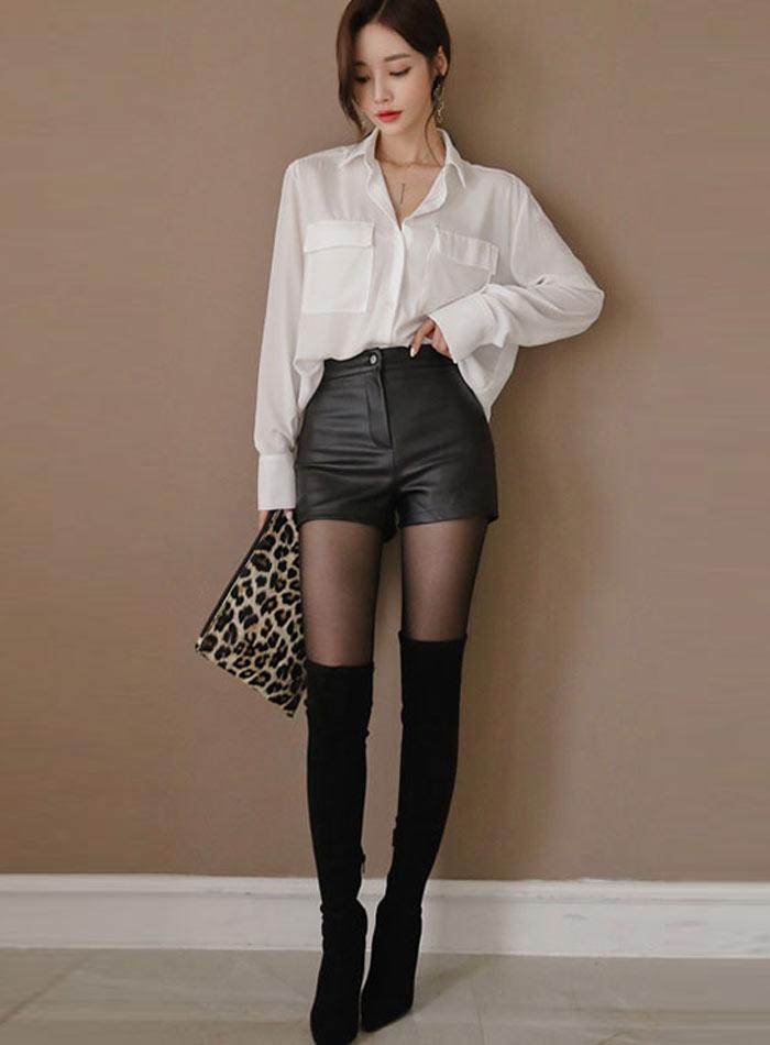 High Waist PU Leather Shorts Korean Fashion Black Spring Autumn Women Shorts Cool Skinny Work Party Wear Female Shorts 27