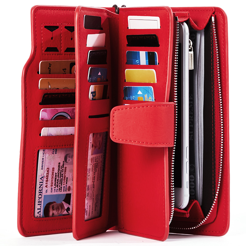 Wallet Female PU Leather Wallet Leisure Purse Red Style 3Fold Top Quality Women Wallets Long Coin Purse Card Holders Carteras(China)