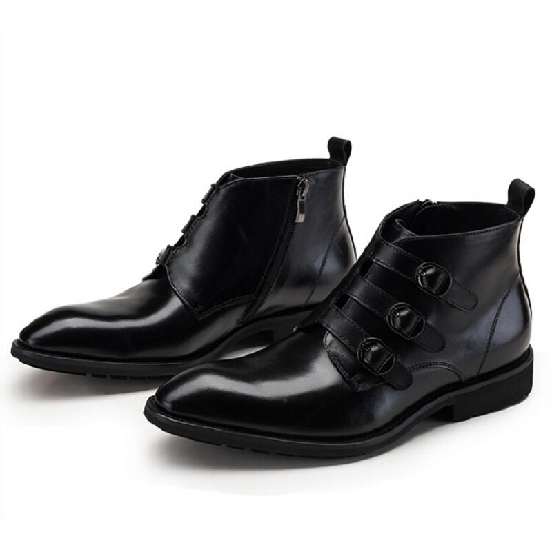 Robe Mycolen Noce Hommes De Cheville Vachette vin Rouge Noir Cuir Boucle  Chaussures D hiver Moto ... 4b1f698ccbe0