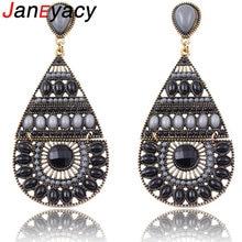 Janeyacy New Style Women's Rhinestone Earrings Jewelry Fashion Drop Shaped Drop Earrings and Stone Earrings Girls Brincos