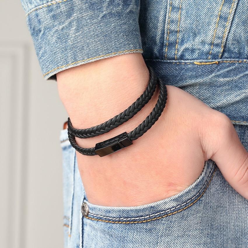 XQNI 2017 Fashion Charm Bracelets 316L Stainless Steel Chain Genuine Bracelets Men Braid Leather Bracelets for women