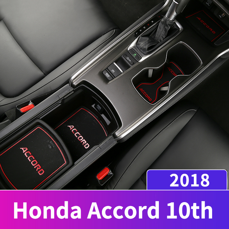 For Honda Accord 10th 2018 2019 Rubber Car Door Groove Mats Gate Slot Pad Non-slip Armrest Storage Cup Pad Interior Accessories