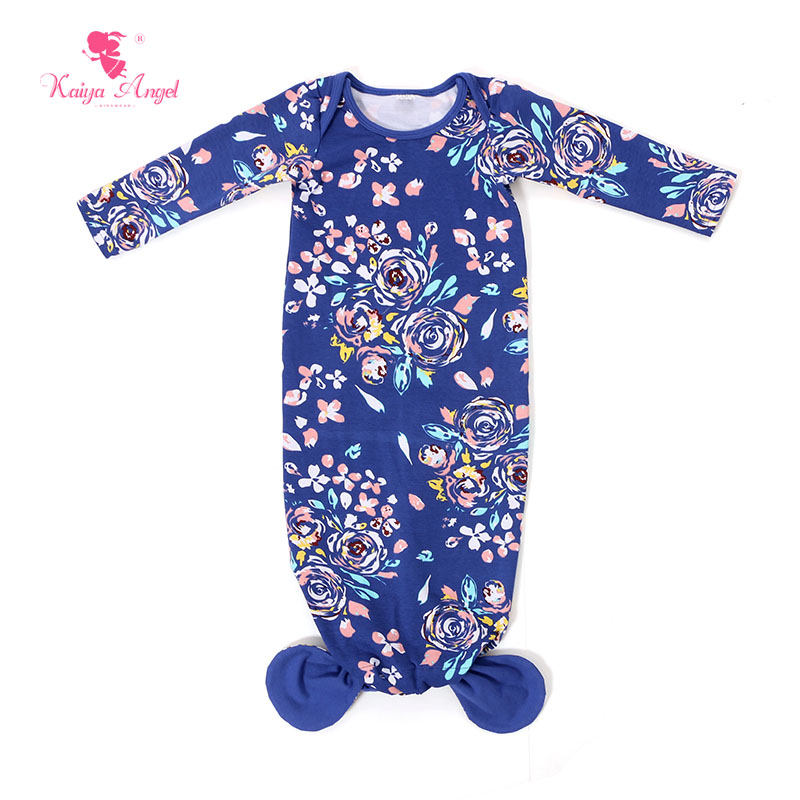 fc4727e1eb81d Mermaid Sleep Sack Royal Blue Floral Print Baby Gown 2017 Baby Clothes Baby Sleep  Gown 0-24 Months Infant Gown