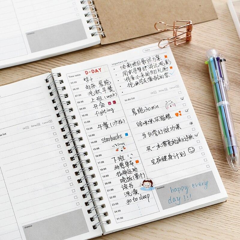 2020 2021 Notebooks Agendas Planner Diary Weekly Spiral Organizer Libretas A5 Note Books Monthly Kraft Paper Schedule Filofax