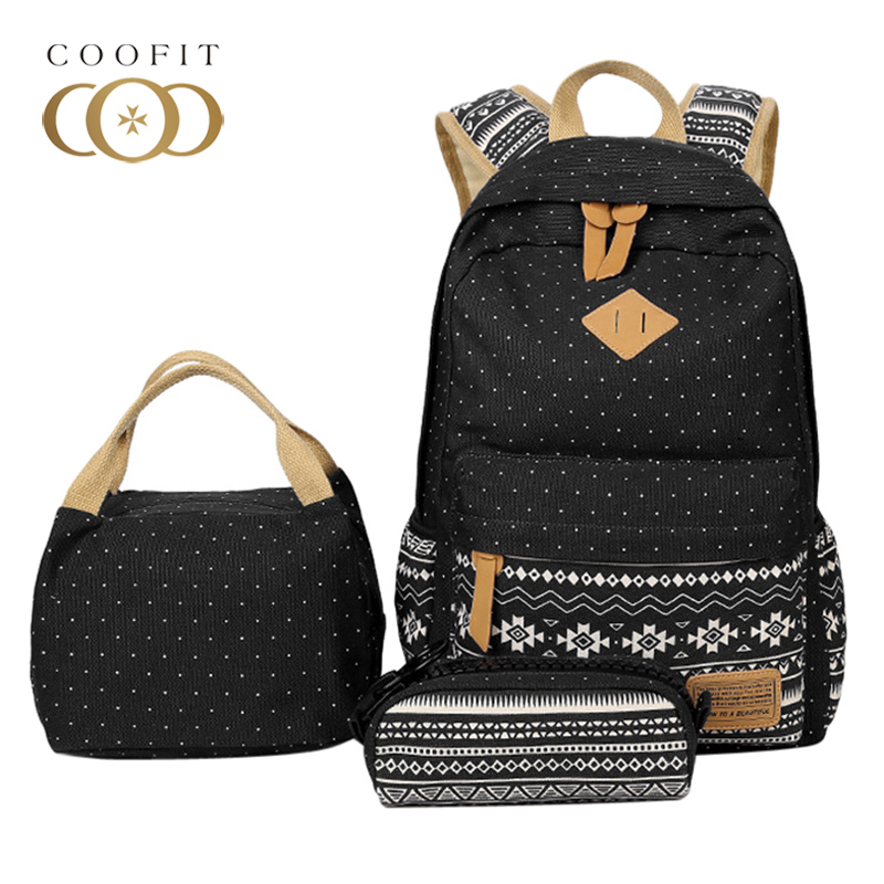 Coofit Composite Backpack Sets Vintage Dot Print Schoolbag For Girls Student Large Capacity Canvas Backpack Female