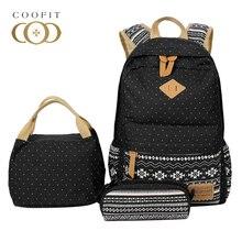 Coofit Composite Backpack Наборы Винтаж Dot печати Школьный для Meninas Студент Большой Ёмкость холст рюкзак женский Для женщин Bagpack