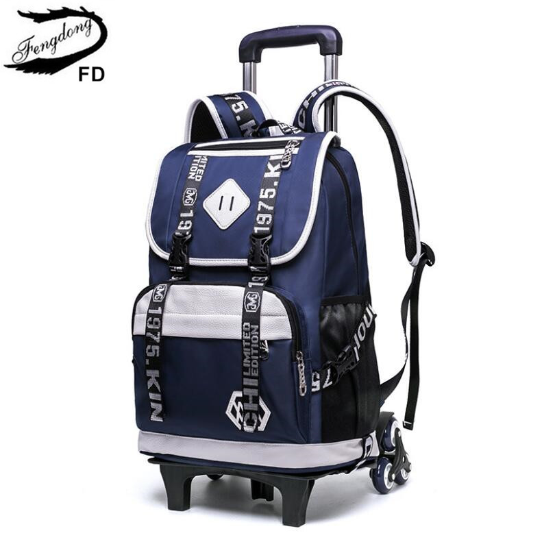 FengDong kids waterproof detachable rolling backpack children school bags child trolly bag on wheels school backpacks for boys fengdong school backpacks for boys black laptop computer backpack kids school bag bagpack men travel bags backpacks for children