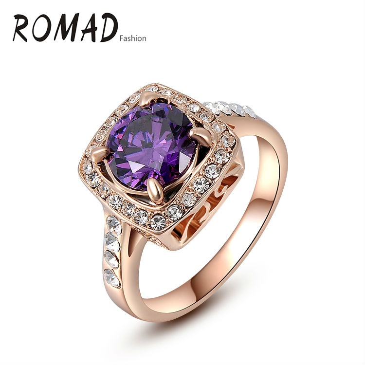 ROMAD Big Blue Stone Elegant Rings Gold Color Trendy Wedding Gift Environmental Micro-Inserted Jewelry Ring