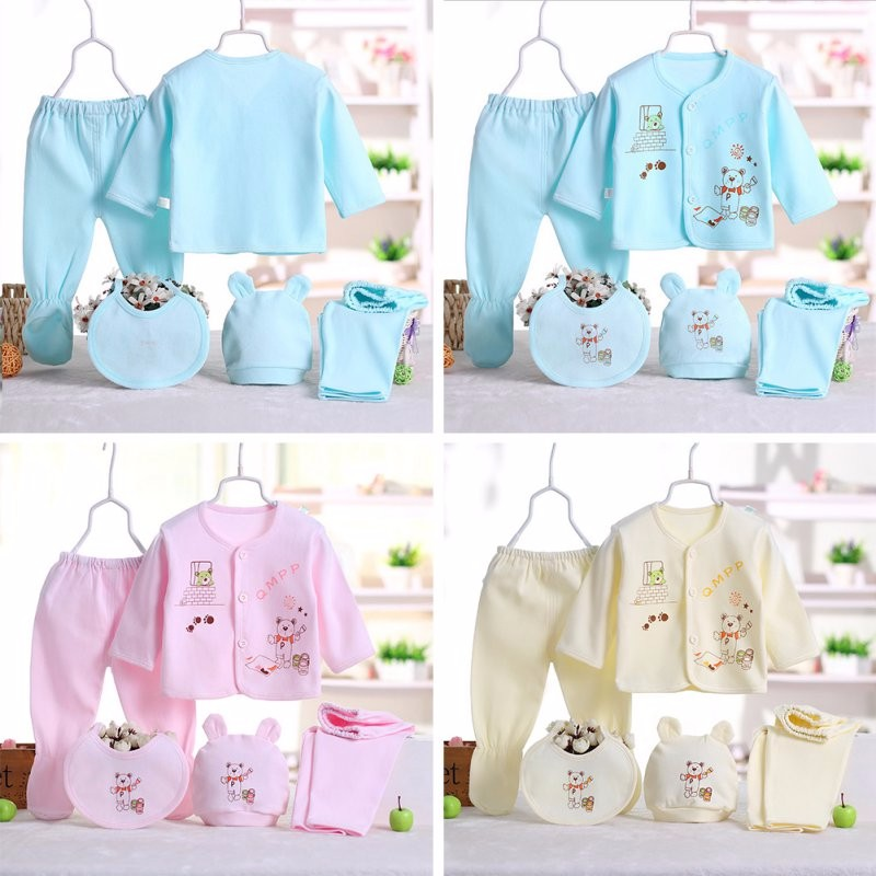 2018 New Arrival Azul Urso Cinco 5 pcs Infantil Macacão de Bebê Unissex Meninos Partes Superiores Das Meninas + chapéu do bebê + 2 pcs bebê calças + bib
