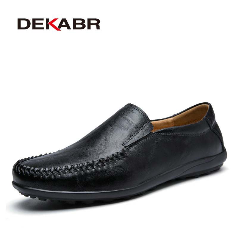 DEKABR 2018 Comfortable Casual Shoes Fashion Split Leather Slip On Driving Shoes Moccasins High Quality Men Loafers Size 38~45