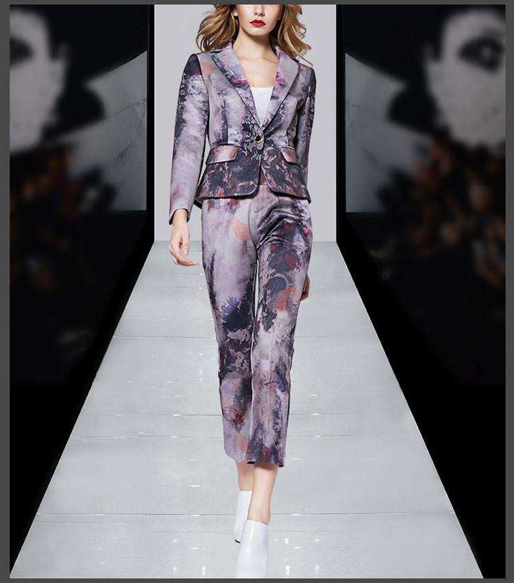 Print Women Business Suit Purple Color Pants Set 2017 07